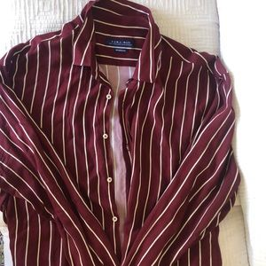 ZARA MAN RED AND WHITE STRIPED BUTTON UP